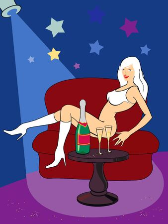 female stripper: beautiful sexy blonde on red sofa near the little table with bottle of champagne in celebratory conditions Stock Photo
