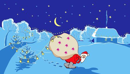 snowcovered: Santa Claus with big bag goes on snow-covered countryside in New Years winter night