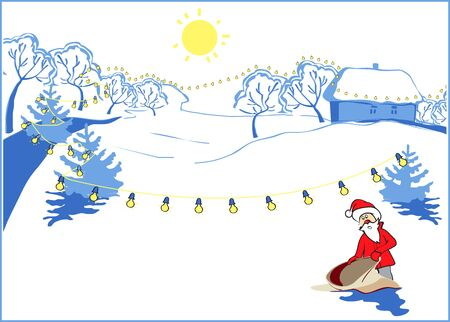 snowcovered: Santa Claus with empty bag on snow-covered countryside in New Years winter day