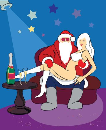 little table: Santa Claus with sexy blonde on red sofa near the little table with bottle of champagne in celebratory conditions