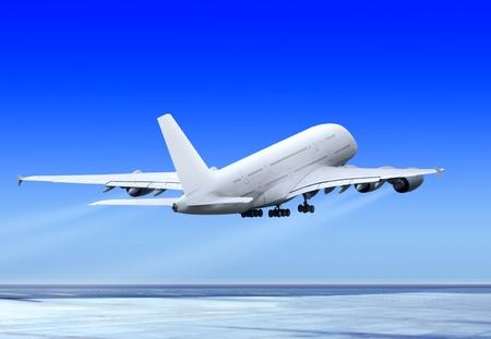 pasajero gran avión vuela arriba de la pista del aeropuerto de