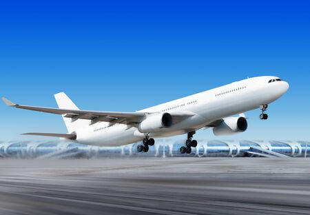 big passenger plane is flying up from runway of airport
