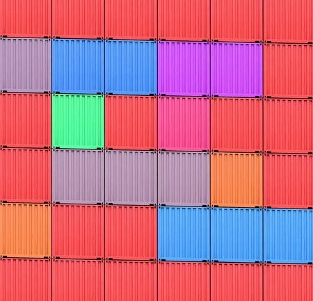 tonnage: background of multi-colored freight shipping containers at the docks
