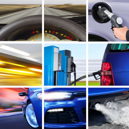 harmless: collage of car interior details and transport attributes Stock Photo