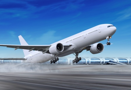 white passenger plane is landing away from airport photo