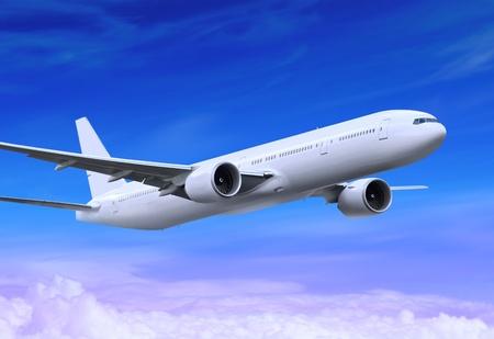 white passenger plane is landing away in the blue sky