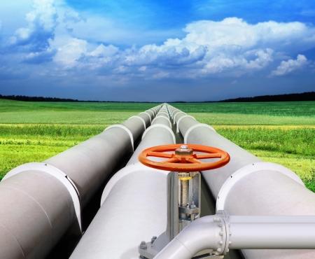 linii rury gazowej i zawór, że ustanowione przez pole zielone