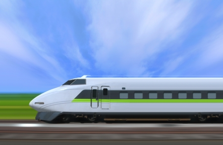 high speed train: High-speed train with motion blur in the country