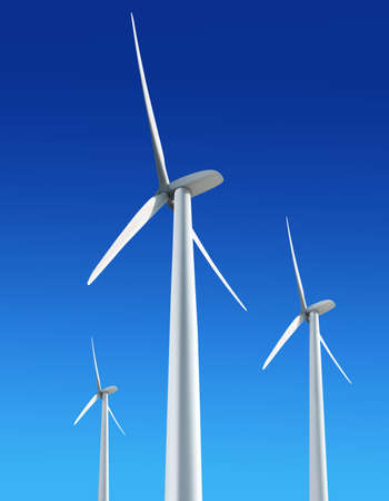 Three white wind turbine generating electricity on blue sky Stock Photo - 8797378