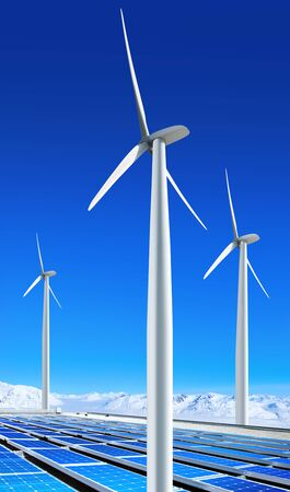 environmentally benign solar panels and wind turbines generating electricity photo