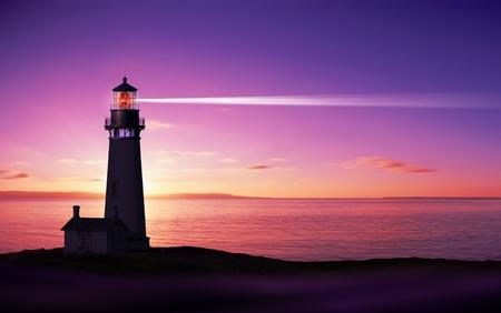 Haz de reflectores de Faro a través del aire marino en la noche