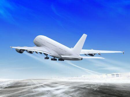 avion de ligne blanche est l'atterrissage de l'a?roport Banque d'images