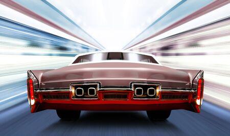 car on luminous high-speed road of night city photo