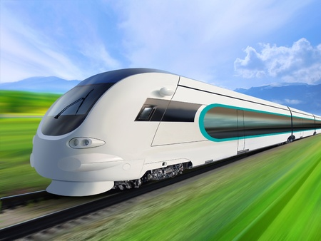 fast train: super streamlined train with motion blur moves on countryside Stock Photo