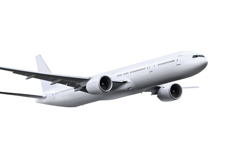 commercial airplane on white background  写真素材
