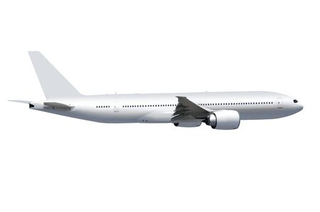 white commercial airplane on white background