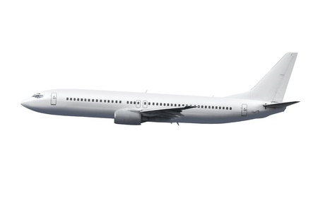 avión comercial sobre fondo blanco