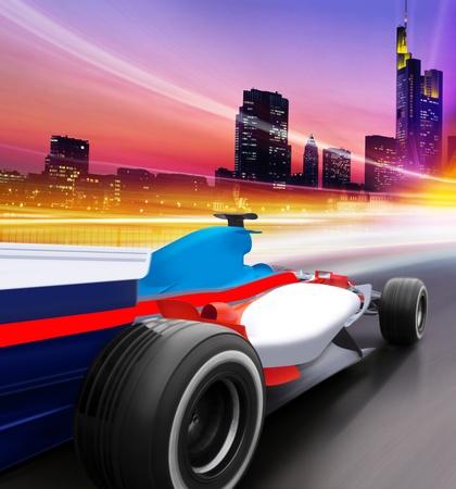 driving at high speed in empty road - motion blur Standard-Bild