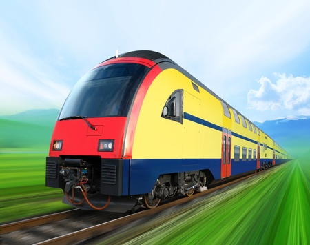 modern train: super streamlined train with motion blur moves on countryside Editorial