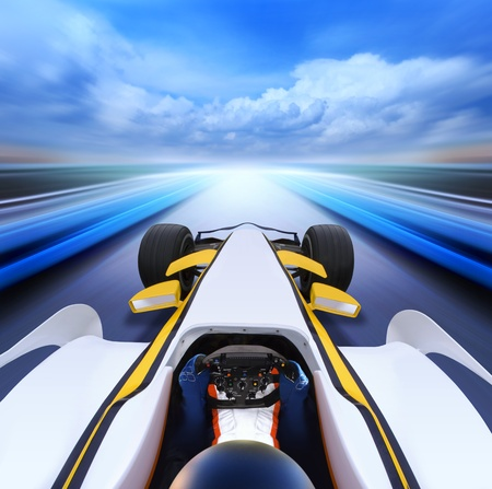 driving at high speed in empty road - motion blur Stock Photo