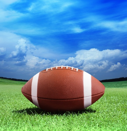 football on arena near the 50 yard line  Stock Photo - 9348288