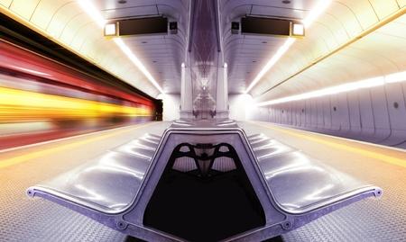 motion blur high speed train in subway