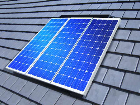 solarpanel: solar-cell array on the roof of private home