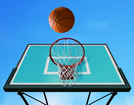 baskets: Basketball board and basketball ball on sky background Stock Photo