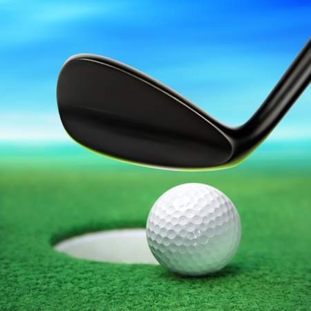 golfball: golf ball on lip near bunker, golf course Stock Photo
