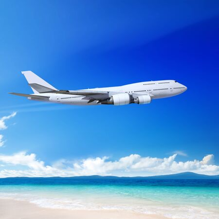 plane landing: Travel to the tropical countries by plane Stock Photo