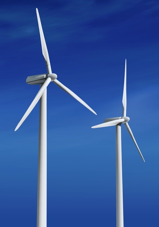 windfarm: white wind turbine with path generating electricity on blue sky