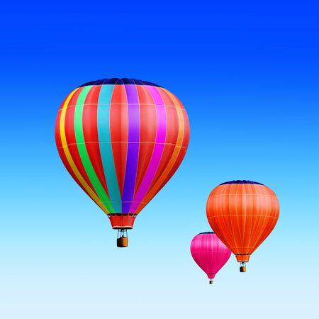 baloon: soar hot air balloons on blue sky Stock Photo