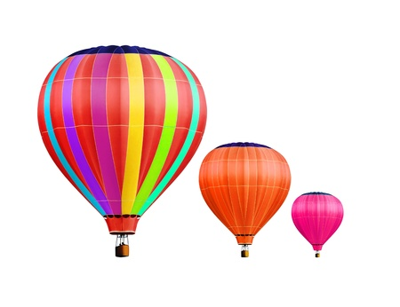 object: soar hot air balloons on white background with path