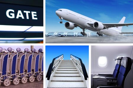 collage of air transportation with details and accessories Stock Photo - 11568112