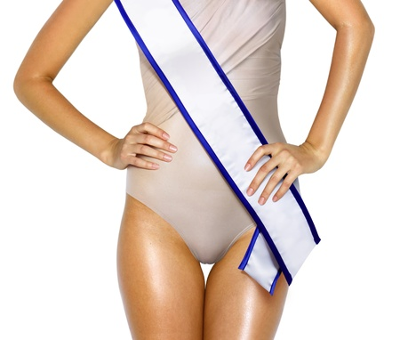 part of woman shape with white tape of beauty contest photo