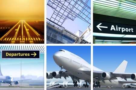 collage of air transportation with details and accessories Stock Photo