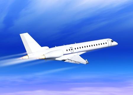 postponed: white fast jet in the blue sky landing away