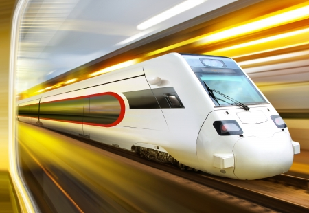 streamlined: super streamlined train with motion blur moves in tunnel