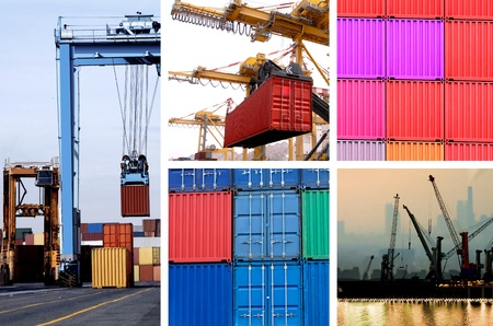 sea seaport: collage of industrial cranes for cargo containers in port