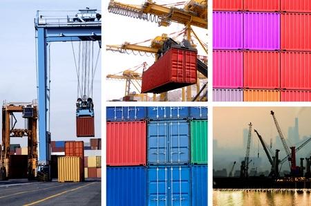 Collage van industriële kranen voor containers in de haven Stockfoto - 11974004