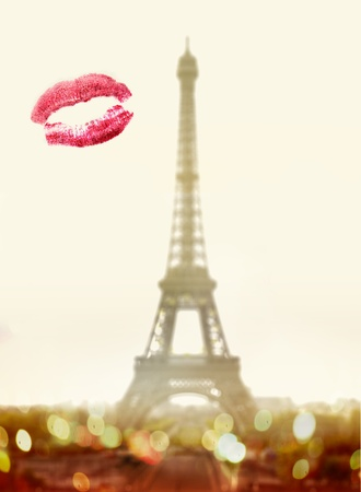 wooing: Lipstick kiss on window in front of famous Eiffel Tower in Paris