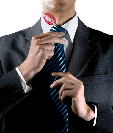 lip stick: Lipstick kiss on white shirt collar from lips of mistress