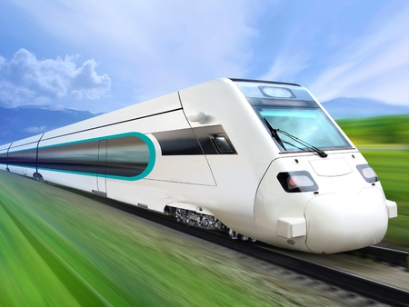 super streamlined train with motion blur moves on countryside