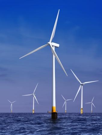 Weiß Windkraftanlage Stromerzeugung auf See Standard-Bild - 12156973
