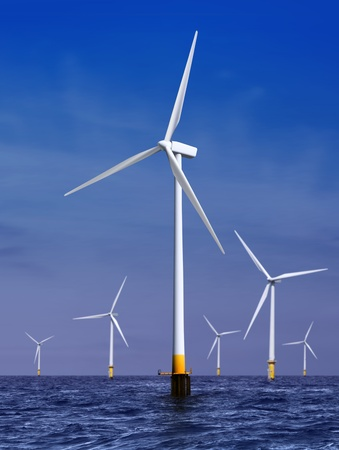 wind mills: white wind turbine generating electricity on sea