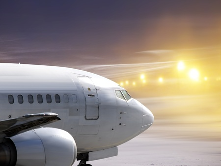 landfall: airport and white plane at non-flying weather, snowstorm Stock Photo