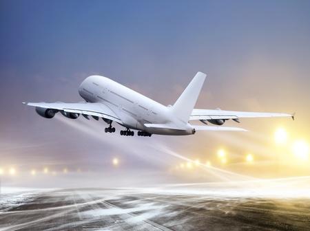 비 비행 날씨, 불고 눈에 공항과 흰색 비행기 스톡 콘텐츠
