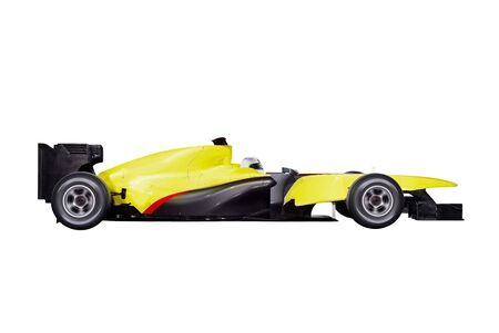 bolide: formula car with path isolated on white background