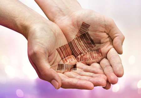 bar codes: Handful of bar codes in mans palms Stock Photo