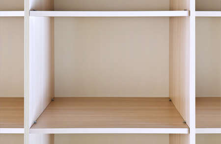 void: empty wooden shelf on the department store Stock Photo